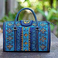 Cotton handbag, 'Teal Sultanate' (14.5 inch) - Embroidered Cotton Handbag in Teal and Saffron (14.5 in.)