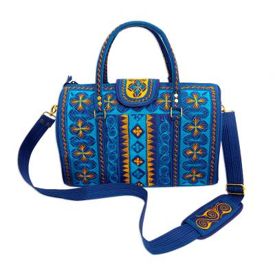 Embroidered Cotton Handbag in Teal and Saffron (14.5 in.)