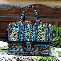 Cotton travel bag, 'Teal Sultanate' - Embroidered Cotton Travel Bag in Teal and Saffron from Bali