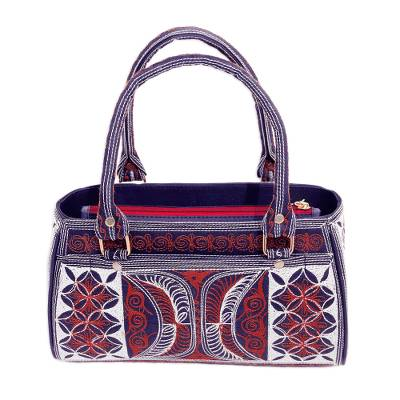 Embroidered Cotton Handle Handbag in Sunrise and Ivory