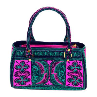 Embroidered Cotton Handle Handbag in Viridian and Rose