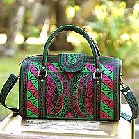 Cotton handbag, 'Viridian Bay' - Embroidered Cotton Handbag in Viridian and Rose from Bali