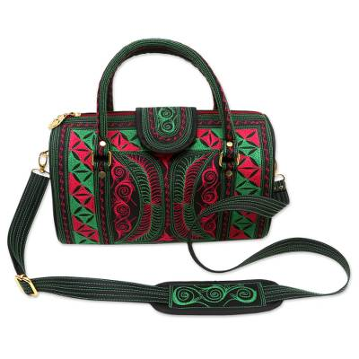 Embroidered Cotton Handbag in Viridian and Rose from Bali