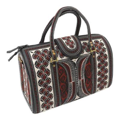 Embroidered Cotton Handbag in Sunrise and Ivory (14.5 in.)