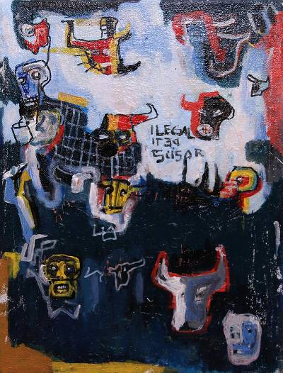 'The Heritage' - Signed Bull-Themed Abstract Painting from Java