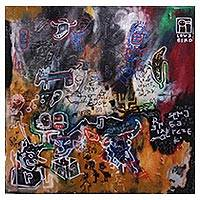 'The Old Memorial' - Signed Abstract Painting by a Javanese Artist