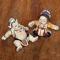 Ceramic figurines, 'Whimsical Loro Blonyo' (pair) - Whimsical Ceramic Loro Blonyo Figurines from Java (Pair)