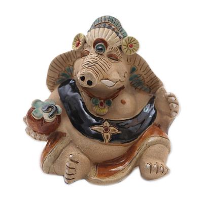Ceramic Elephant Prince Figurine from Java