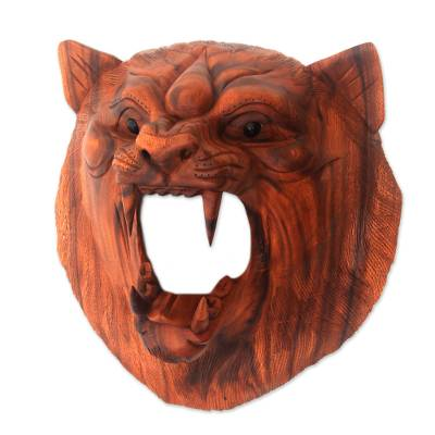 Hand Carved Suar Wood Lion Wall Mask from Bali