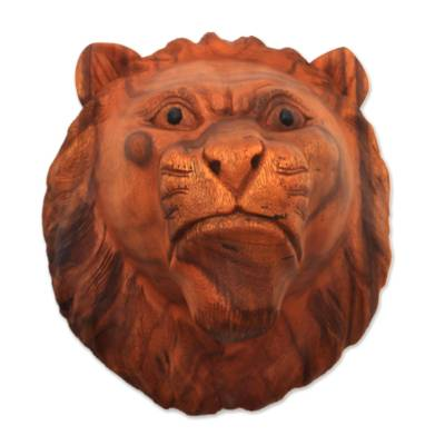 Wood mask, 'Pensive Lion' - Hand Carved Lion Wall Mask in Suar Wood from Bali