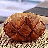 Teakwood puzzle, 'Magical Illusion' - Handcarved Teakwood Puzzle from Java