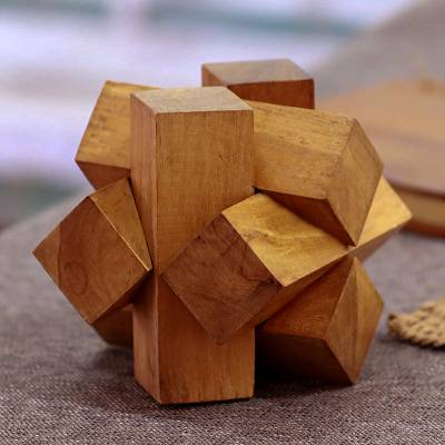 Teakwood puzzle, 'Magical Blocks' - Artisan Crafted Teakwood Block Puzzle from Java