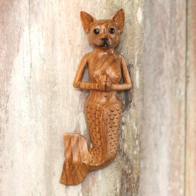 Suar Wood Mermaid Dog Wall Sculpture From Bali Mermaid Dog
