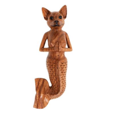 Wood wall sculpture, 'Mermaid Dog' - Suar Wood Mermaid Dog Wall Sculpture from Bali