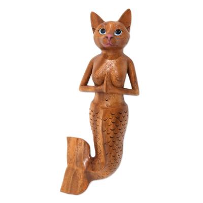 Wood wall sculpture, 'Mermaid Cat' - Suar Wood Mermaid Cat Wall Sculpture from Bali