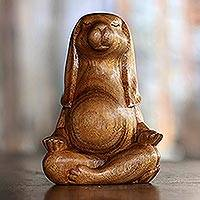 Wood sculpture, 'Pregnant Yoga Bunny' - Suar Wood Yoga Bunny Sculpture from Bali