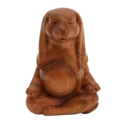 Wood sculpture, 'Pregnant Yoga Bunny' - Suar Wood Yoga Bunny Sculpture from Bali