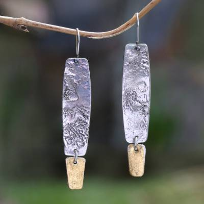 Sterling silver dangle earrings, 'Beautiful Textures' - Sterling Silver Dangle Earrings with Gold Mica Accent