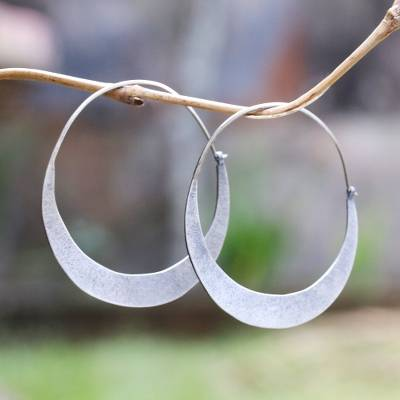 Sterling silver hoop earrings, 'Crescent Soul' - Modern Sterling Silver Hoop Earrings from Bali