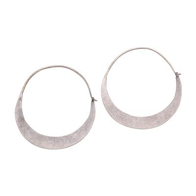 Modern Sterling Silver Hoop Earrings from Bali