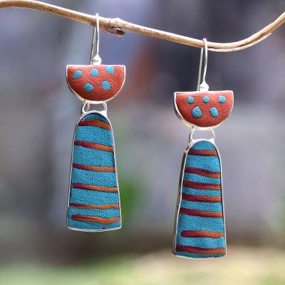 Sterling silver and polymer clay drop earrings, 'Bright Stripes' - Striped Sterling Silver and Polymer Clay Drop Earrings