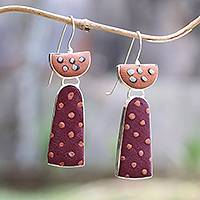 Sterling silver and polymer clay drop earrings, 'Playful Dots' - Dotted Sterling Silver and Polymer Clay Drop Earrings