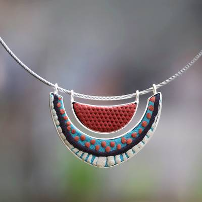 Sterling silver and polymer clay necklace, 'Summer' - Sterling Silver and Polymer Clay Pendant Choker Necklace