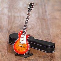 Decorative miniature guitar, 'Les Paul' - Decorative Miniature Mahogany Wood Les Paul Guitar