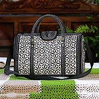 Cotton travel bag, 'Samosir Beauty' - Cotton Travel Bag with Antique White Aceh Embroidery