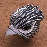 Men's obsidian ring, 'Sharp Hawk' - Men's Obsidian and Sterling Silver Hawk Ring from Bali