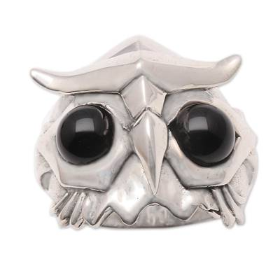 Men's obsidian ring, 'Fierce Owl' - Men's Obsidian Owl Ring from Bali