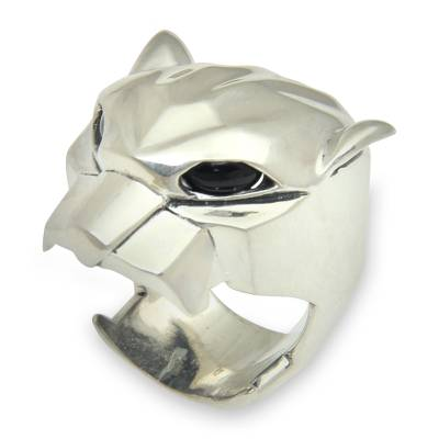 Men's obsidian ring, 'Mouth of the Jaguar' - Men's Obsidian Jaguar Ring Crafted in Bali