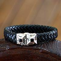 Men's leather and obsidian braided wristband bracelet, 'Romeo'