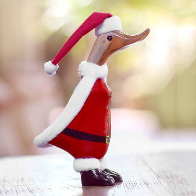Bamboo root and wood figurine, 'Santa Duck' - Bamboo Root and Wood Santa Duck Decorative Figurine