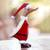 Bamboo root and wood figurine, 'Santa Duck' - Bamboo Root and Wood Santa Duck Decorative Figurine thumbail