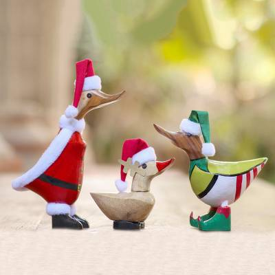 Bamboo root and wood decorative accents, 'Santa's Team' (set of 3) - Set of 3 Bamboo Root and Wood Christmas Accents from Bali