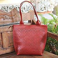 Leather tote, 'Twilight Blast' - Patterned Leather Tote in Crimson from Bali