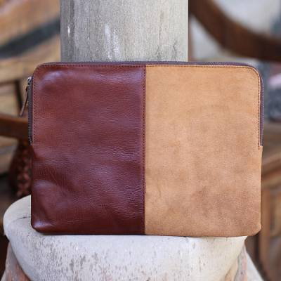 Leather and suede laptop case, 'Stunning Tones' - Mahogany and Ginger Leather and Suede Laptop Case from Bali