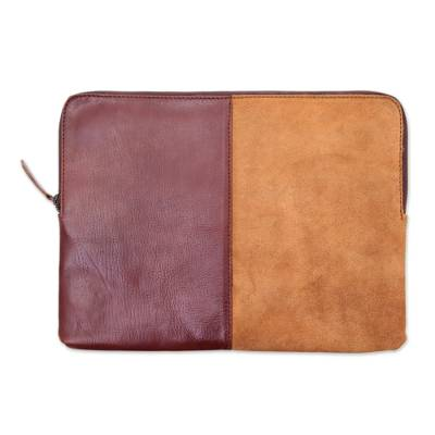 Mahogany and Ginger Leather and Suede Laptop Case from Bali
