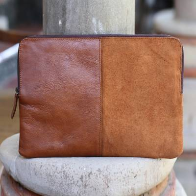 Leather and suede laptop case, 'Elegant Tones' - Burnt Sienna and Ginger Leather and Suede Laptop Case