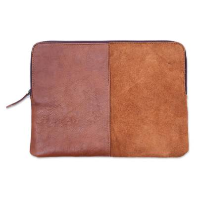 Burnt Sienna and Ginger Leather and Suede Laptop Case