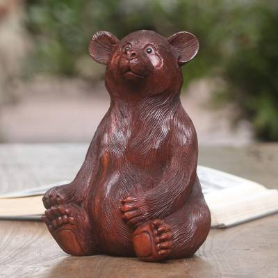 Wood sculpture, 'Fuzzy Bear' - Hand-Carved Suar Wood Bear Sculpture from Bali