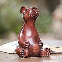 Wood sculpture, 'Honey Bear' - Handmade Suar Wood Sculpture of a Bear from Bali
