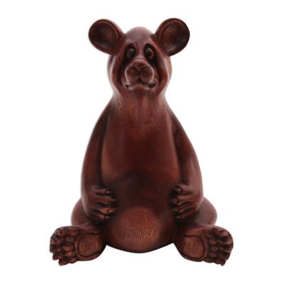 Wood sculpture, 'Honey Bear' - Handmade Suar Wood Sculpture of a Bear from Bali