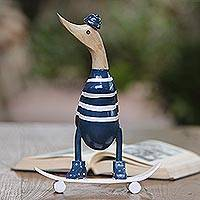 Wood and bamboo root sculpture, 'Skateboard Duck' - Acacia Wood and Bamboo Root Skateboarder Duck Sculpture
