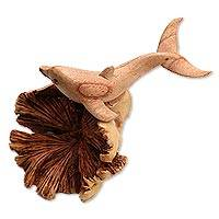 Wood figurine, 'Happy Dolphin'