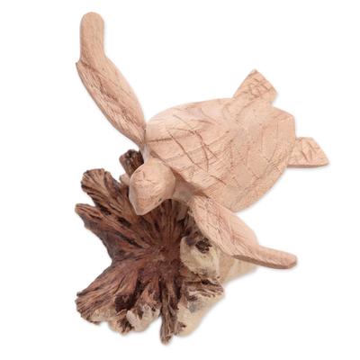 Wood figurine, 'Swimming Turtle' - Jempinis and Benalu Wood Sea Turtle Figurine from Bali