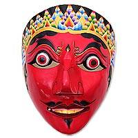 Wood mask, 'The Dynamic King' - Hand-Painted Dance-Themed Wood Mask from Java