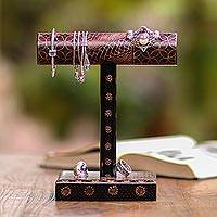 Batik wood jewelry stand, 'Batik Bar' - Hand-Painted Batik Wood Jewelry Stand from Java