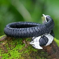 Men's obsidian and leather braided wrap bracelet, 'Unblinking Owl'